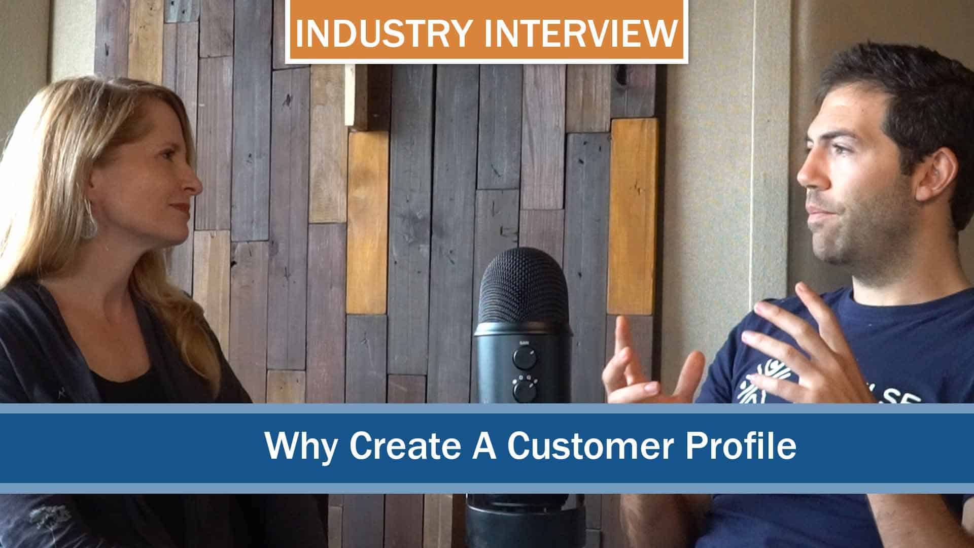 Picture of an interviewer and interviewee discussing why you should create a customer profile