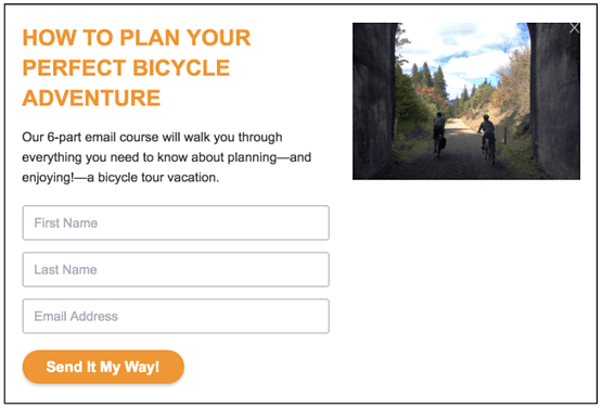example lead magnet opt in box for bike trips