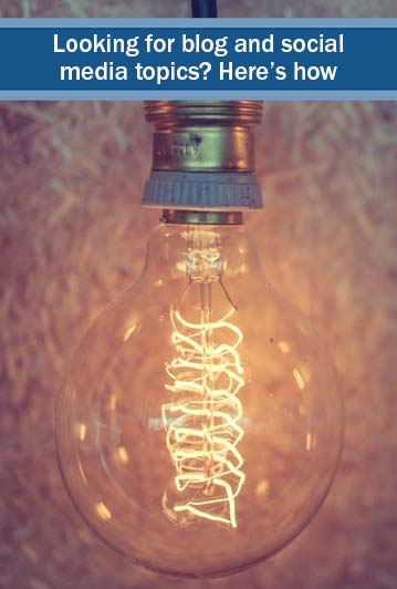 social media topics - ideas - coming from the image of a lightbulb