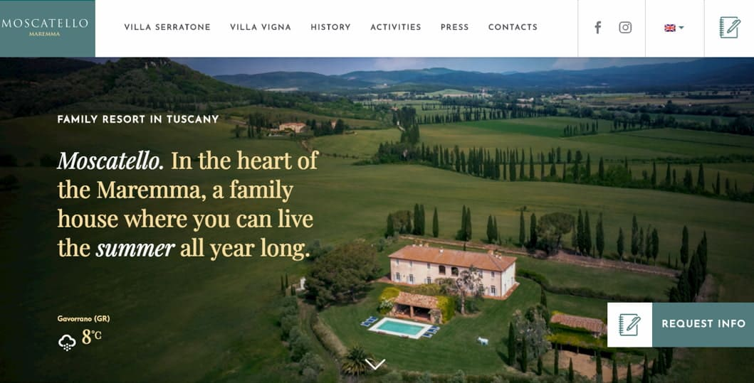 website homepage - moscatello resort
